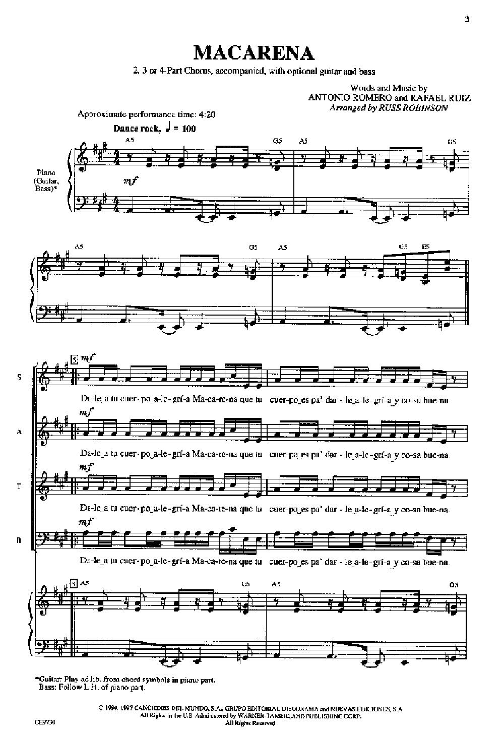Macarena 234 Part By Robinson R Jw Pepper Sheet Music