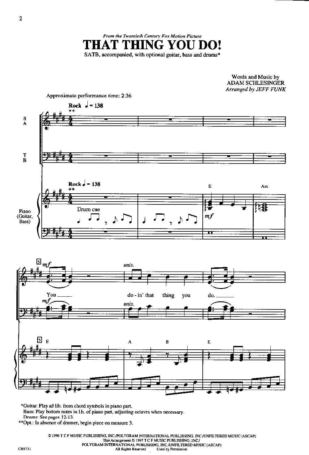 That Thing You Do Satb By Funk J Jw Pepper Sheet Music