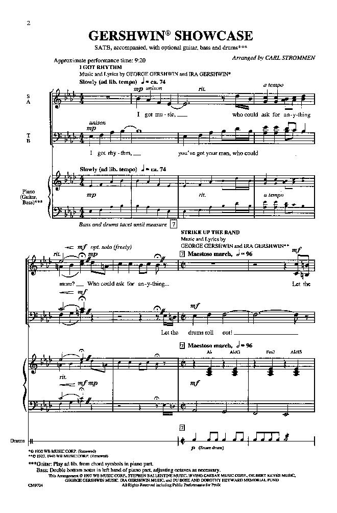 Gershwin Showcase (SATB ) arr. Carl Strommen| J.W. Pepper Sheet Music