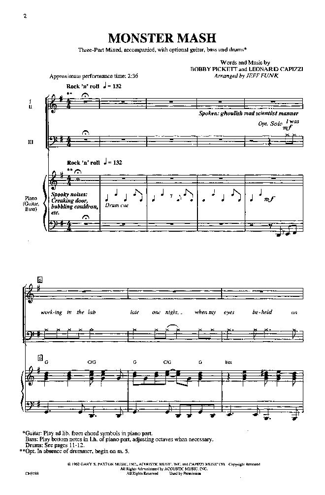 Monster Mash (Three-Part Mixed ) arr. Jeff F | J.W. Pepper Sheet Music