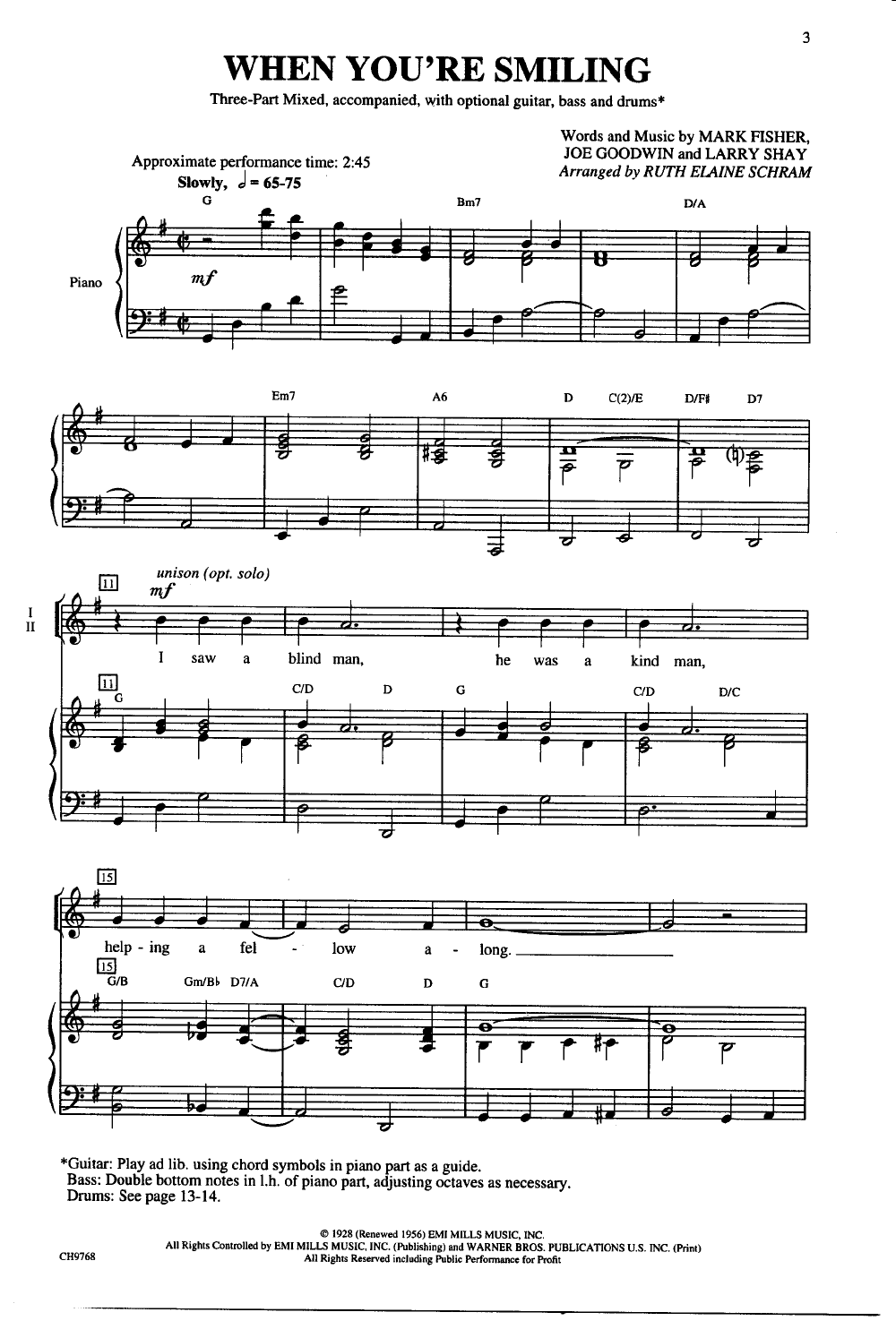 When Youre Smiling Three Part Mixed By S Jw Pepper Sheet Music