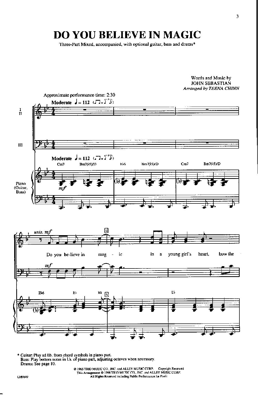 Do You Believe In Magic Three Part Mixed Jw Pepper Sheet Music