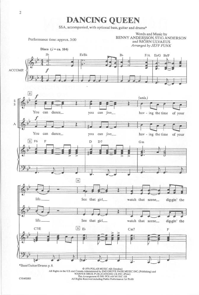 dancing queen sheet music - People.davidjoel.co