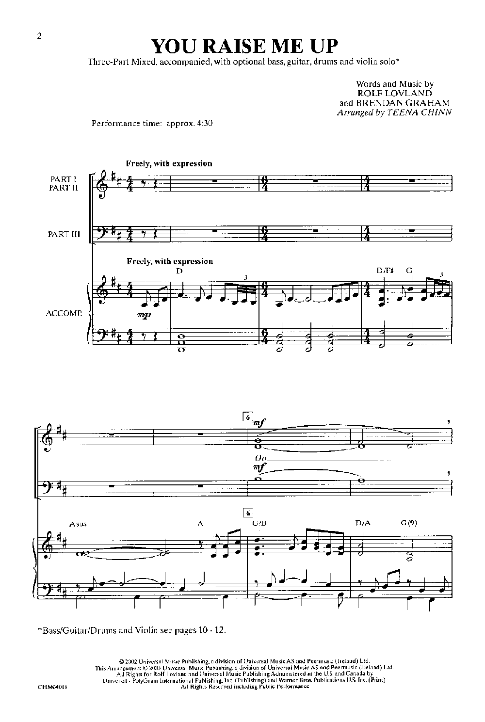 you raise me up violin sheet music