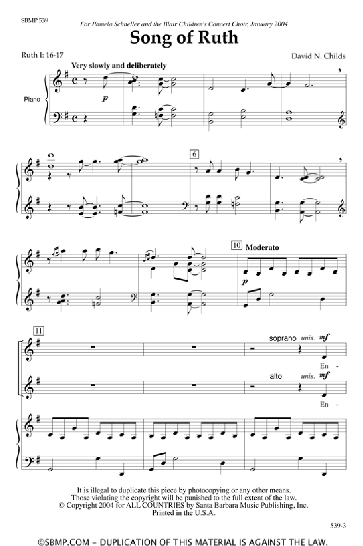 Song of Ruth (SSAA ) by David Childs| J.W. Pepper Sheet Music