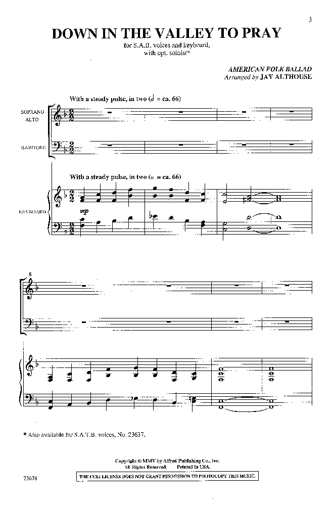 Down in the Valley to Pray (SAB ) arr. Jay A | J.W. Pepper Sheet Music