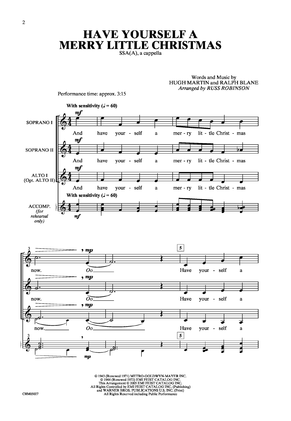 Have Yourself a Merry Little Christmas (SSAA | J.W. Pepper Sheet Music