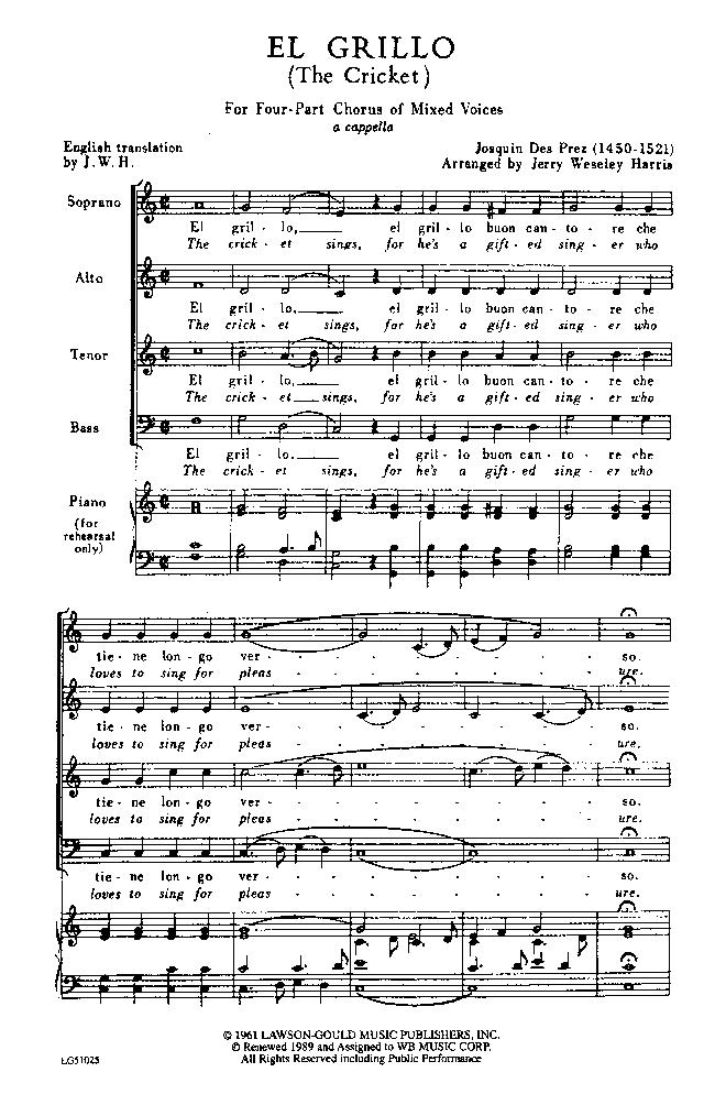 El grillo (Josquin Desprez) - IMSLP: Free Sheet Music PDF