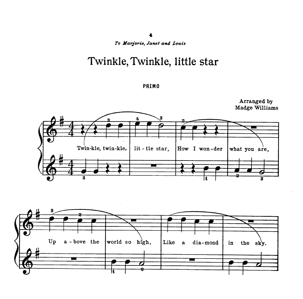 Twinkle Twinkle Little Star Free Sheet Music For Piano: Twinkle Twinkle Little Star-Trio By WILLIAMS