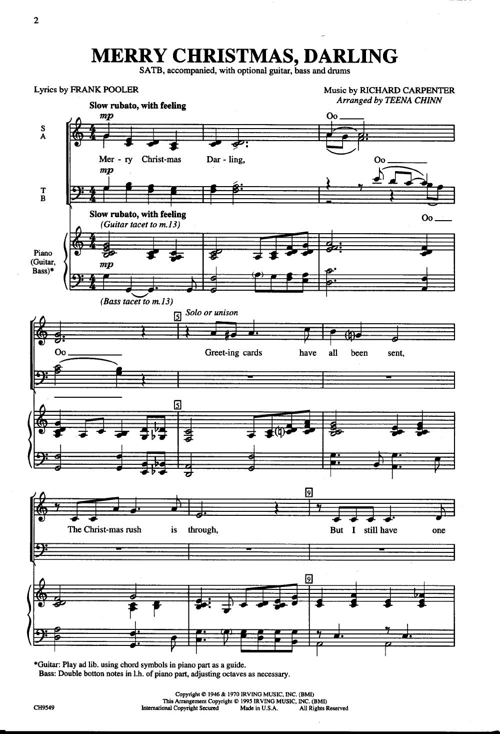 Merry Christmas Darling Chords And Lyrics Driveeapusedmotorhome