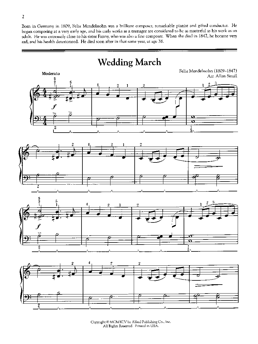 Wedding March Easy Piano Mendelssohn F Small Alfred Music Publishing