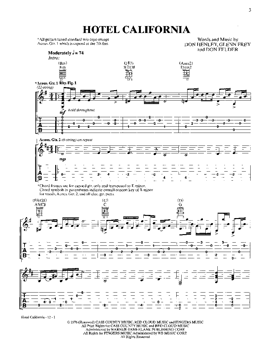 Hotel California By Eagles Jw Pepper Sheet Music