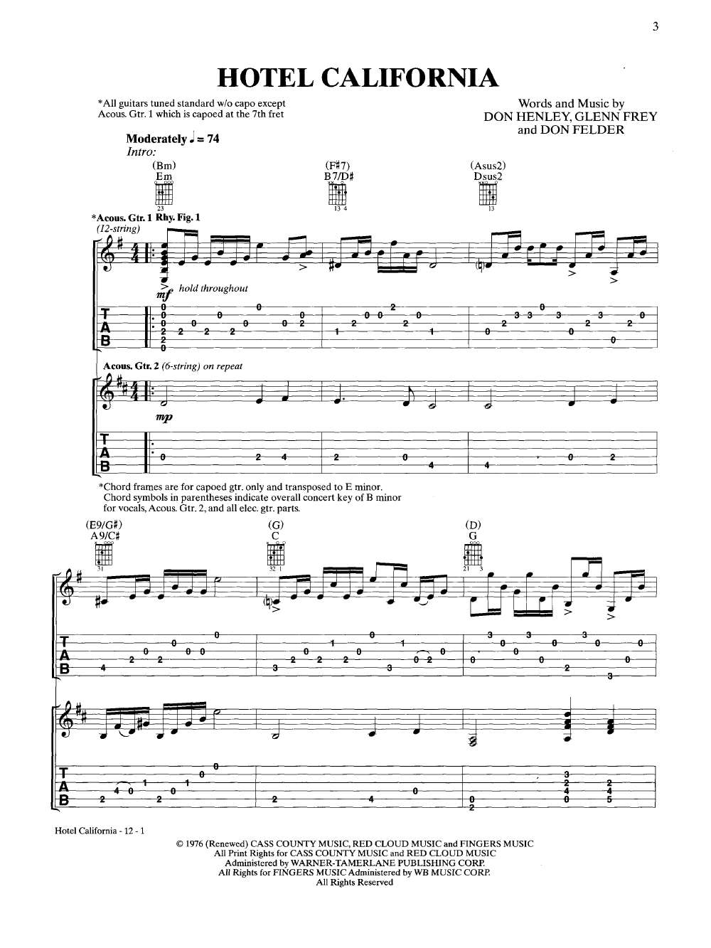 Hotel California By Eagles Jw Pepper Sheet Music