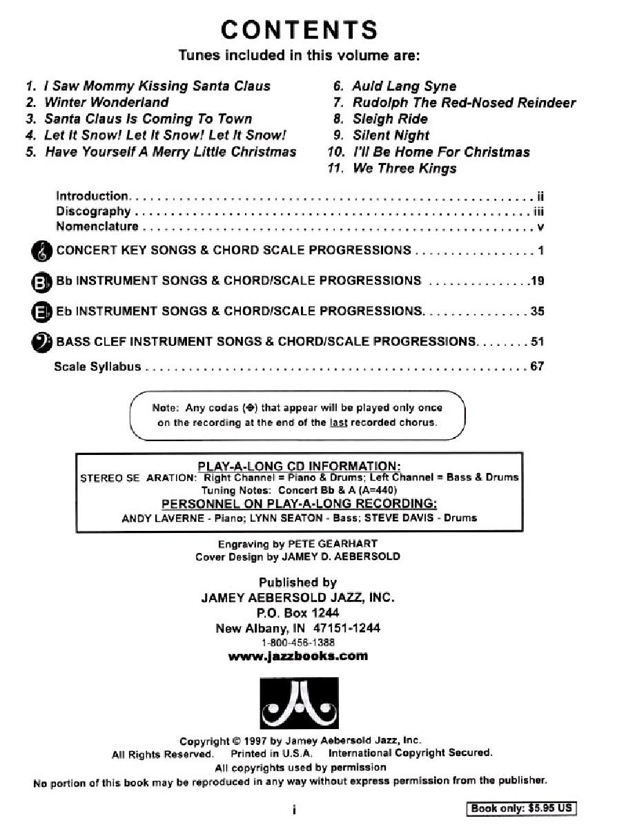 Jamey Aebersold Jazz Volume 78 Jazz Holiday Cl Jw Pepper Sheet