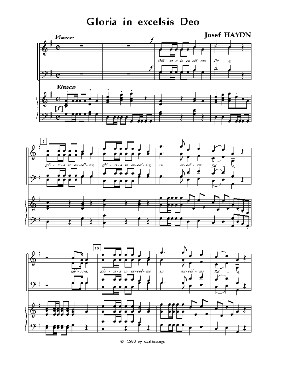 Gloria in Excelsis Deo (SATB ) by Haydn  J.W. Pepper Sheet Music