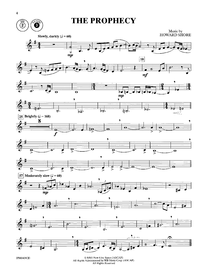 lord of the rings trumpet sheet music