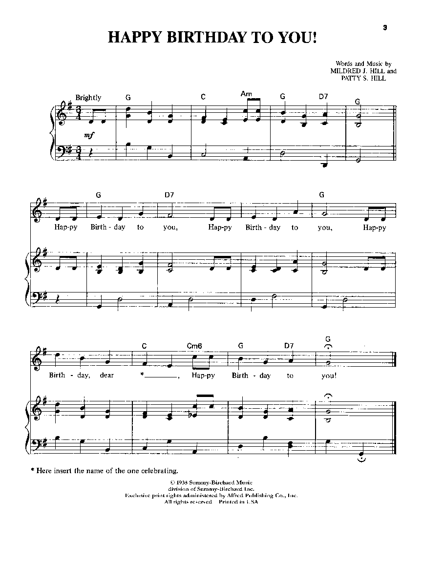 Happy Birthday To You Pianovocal By Hill Jw Pepper Sheet Music