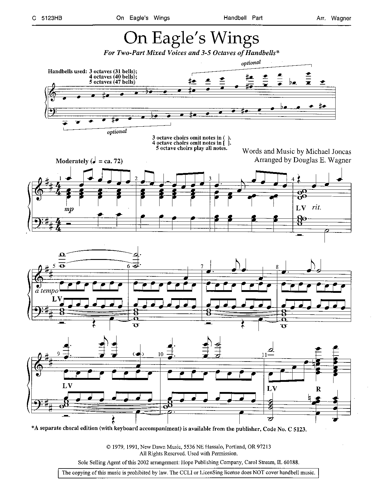 Eagles wings piano score array on eagle u0027s wings handbell part 3 5 octave h j w pepper sheet music rh fandeluxe Gallery