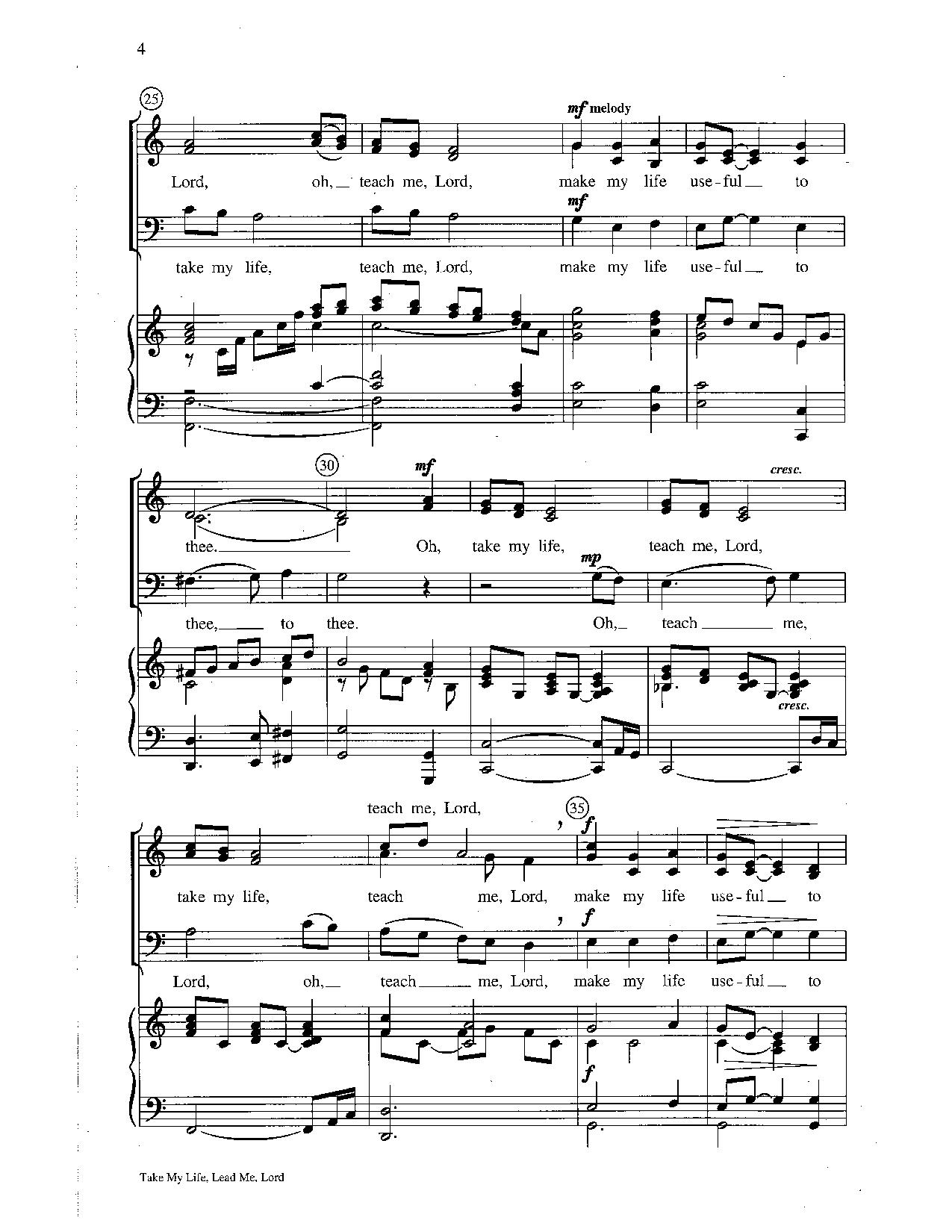 Take My Life Lead Me Lord Sab By Wilson J Jw Pepper Sheet Music