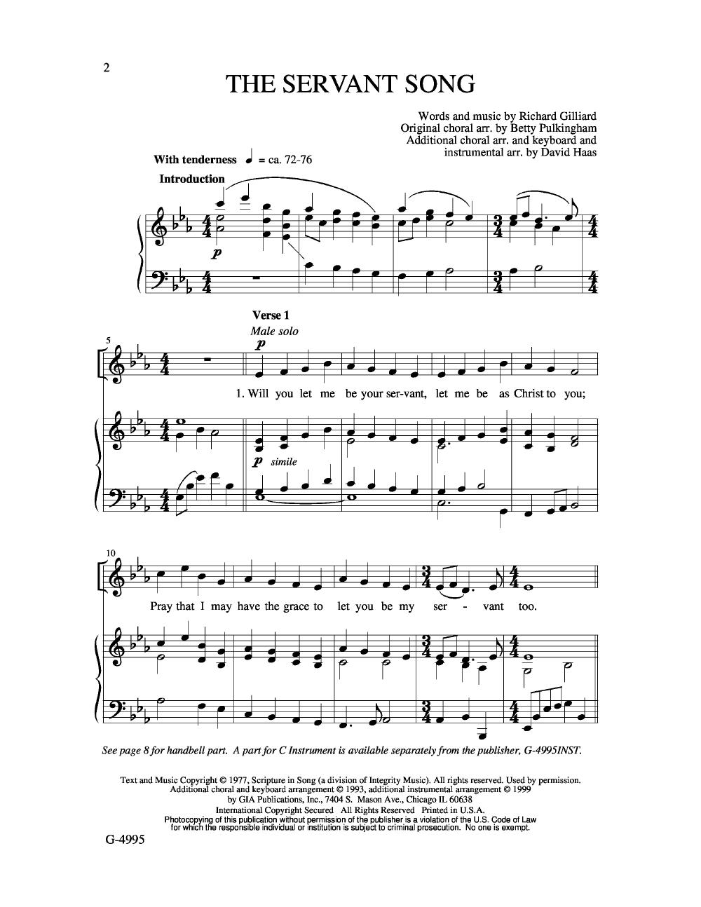 Servant Song Sheet Music Erkalnathandedecker