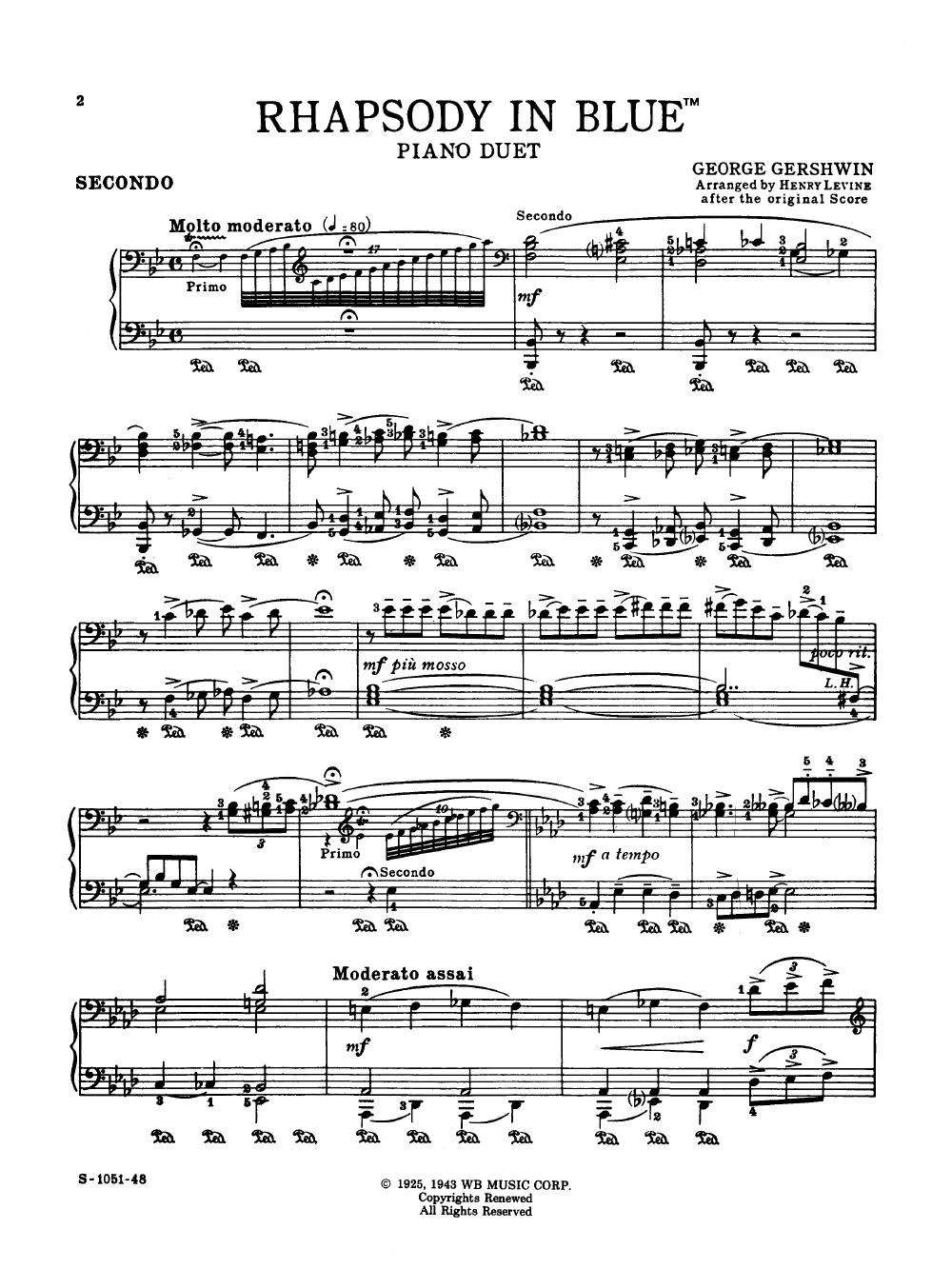 Rhapsody In Blue By George Gershwin/arr. Levine